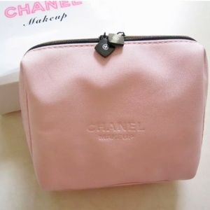 NEW CHANEL Pink Leather Logo Makeup Bag Case VIP